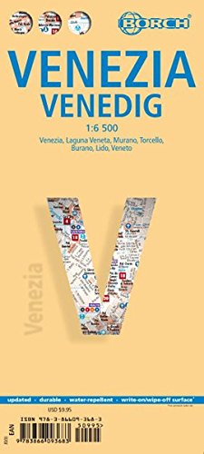 Venecia, plano callejero plastificado. Escala 1:6.500. Borch. por VV.AA.
