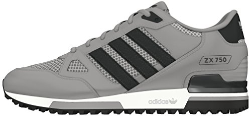 adidas Unisex-Erwachsene ZX 750 Low-Top, Schwarz (Mgh Solid Grey/Dgh Solid Grey/Ftwr White), 36 2/3 EU
