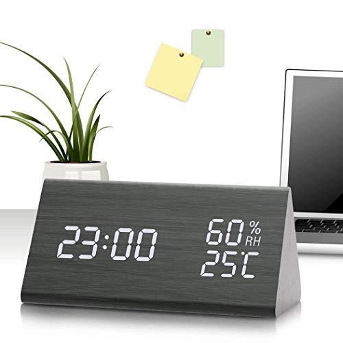 Digitaler Wecker mit elektronischer LED-Zeitanzeige aus Holz, 3 Weckeinstellungen, Luftfeuchtigkeits- und Temperaturerkennung, aus Holz gefertigte elektrische Uhren für Schlafzimmer, Nachttisch (Schlafzimmer Elektrischer Wecker Für)
