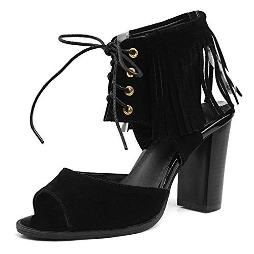 YE Damen Süß High Heels Plateau Sandalen Blockabsatz mit Schnürung und Fransen Bequem 10cm Absatz Sommer Schuhe Schwarz