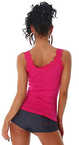 P.F. Damen Top mit Spitze an Dekolletè und Rücken Pink