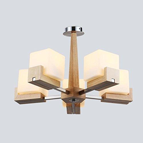 BBSLT Cinese moderno in legno massiccio lampadario sala da pranzo/camera/soggiorno lampadario , luce lampada [Invia a led da 3 watt lampadina]