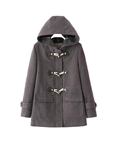 Femmes Classic Horns Deduction Woolen Jacket gray