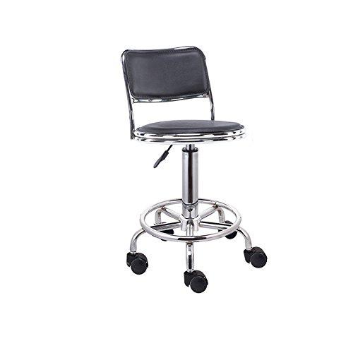YKQ Hocker mit Rückenlehne verstellbar Bar PU Cortex schwarz mit Rädern Rund Drehen 4kg 8.8lbs, B+