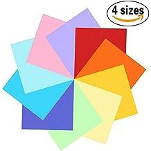 400fogli colorati double face, carta per origami in 10colori vivaci assortiti, 4misure - 100fogli da 20cm x 20cm + 100fogli da 15cm x 15cm + 100fogli da 10cm x 10cm + 100fogli da 7,5cm x 7,5cm + 100occhietti che si muovono