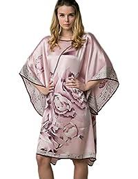 Prettystern - 100% Crepe Satin SEIDE Kimono Nachthemd mit handbemalter chinesischer Pinsel Malerei