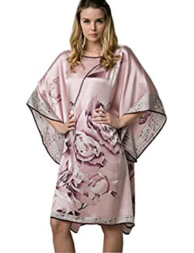 Prettystern - 100% crepe seta kimono pigiama camicia da notte lingerie con pittura a pennello cinese dipinto a...
