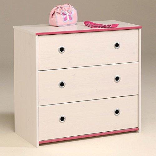 Kommode B 79 cm weiß pink oder blau Kinderzimmer Jugendzimmer Anrichte Schrank Aufbewahrung Schubladen Mehrzweckschrank