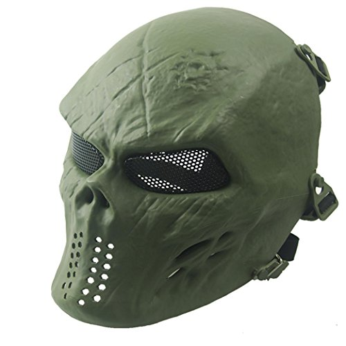 Airsoft Paintball Full Face Skull Skeleton Mask, Tactical Military War Game CS Protective Gear Equipment, Halloween Costums By Kolylong (Green)