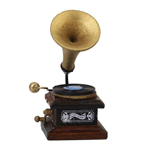 1/12 Miniatura Fonografo Decorazione Giradischi Artigianato Modello Casa Delle Bambole