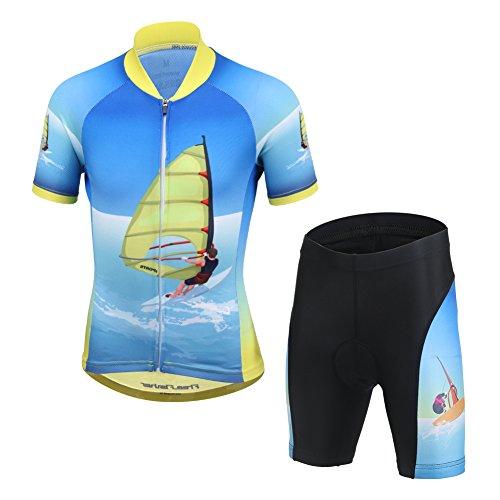 LPATTERN Ropa Conjunta de Ciclismo Bicicleta Maillot de Manga Corta + Pantalones Secado Rápido para Niños Niñas, Azul con Vela, 6-7 años/M