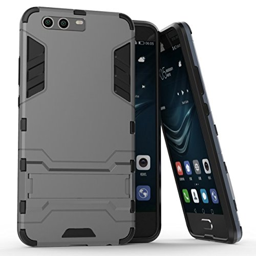 Cover Huawei P10 Plus, Custodia Huawei P10 Plus, MHHQ 2 in 1 nuovo Armour stile resistente Hybrid Dual Layer Armatura Defender PC + TPU Custodie con supporto [Custodia antiurto] per Huawei P10 Plus -Gray