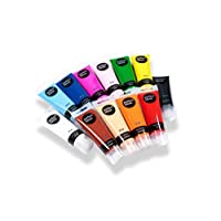 perfect ideaz colourful set of 12 tubes of acrylic paints, each 75 ml, with brush, 12 different creative paint colours, high colour pigment content, high coverage and fast drying acrylic paints