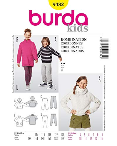 Burda 9482 Schnittmuster Kapuzenshirt Shirtkleid Jogginghose Leggings (kids, Gr. 104 - 164) Level 2 leicht -
