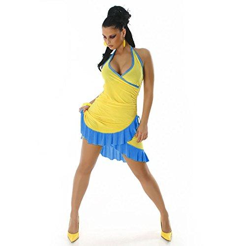 Mini vestito Sexy da donna, estivi, con balza ONE, da donna, taglie UK 8, 10, 12, 14, taglia: 36, 38, 40, 42 Yellow - Blue