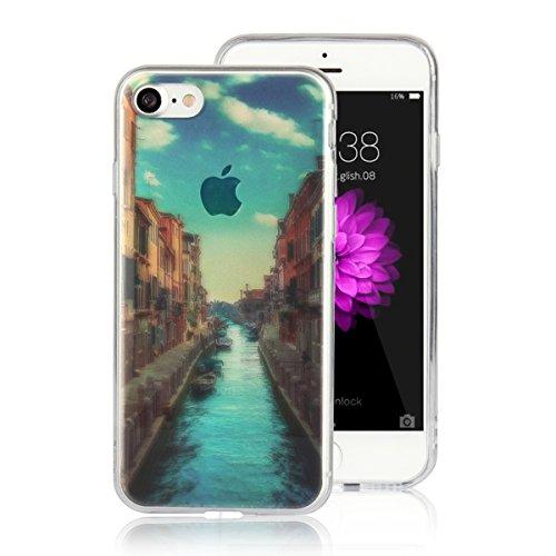 MOONCASE iPhone 7 Coque, Ultra Mince Motif Etui Souple TPU Silicone Antichoc Housse Case pour iPhone 7 (Montagne) Venise