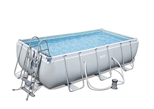 Bestway Power Steel Rectangular Frame Pool Set, hellgrau, mit Filterpumpe + Zubehör, 404 X 201 X 100cm