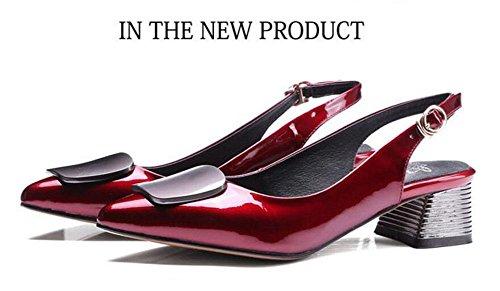 SHINIK Damen Spitz-Zehen-Pumps 2017 Neue Leder-Schuhe Slingback Sandalen Mid Heel Work Schuhe Red
