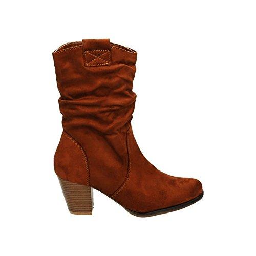 Schuhe Stiefeletten Blockabsatz Damen Camel Boots Schlupfstiefel 65 Stiefel 2 Cowboy Western a0OS4Y0