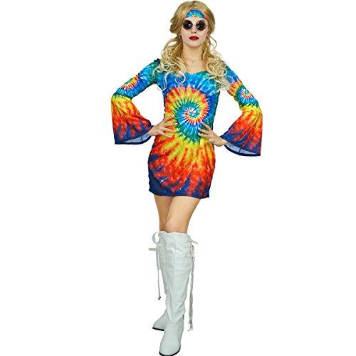 SEA HARE Damen 60er 70er Jahre Regenbogen Hippie Kostüm Kostüm (L) (70er Jahre Kleid Kostüm)