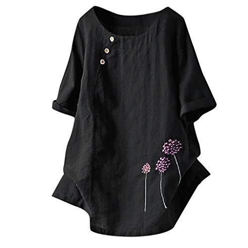 QingJiu Frauen Große Größe Kurze Ärmel Löwenzahn Gestickte Schaltfläche Rundhals Shirt Top