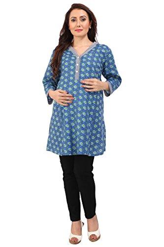 MomToBe Women's Cotton A-Line Maternity Kurti, Blue Printed