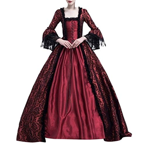 Damen Mittelalterkleid Gothic Schnürung Langarm Kleider mit Trompetenärmel Viktorianischen Königin Kostüme Vintage Renaissance Medieval Princess Dress Erwachsene Cosplay Karneval Fasching Party (Schmutzigen Kostüme Erwachsenen)