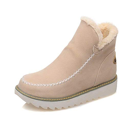 Botas De Nieve Mujer Invierno Aire Libre Altas Calentar Forrado Botines Snow Ankle Boots Zapatos De Cuña 3cm Beige 38