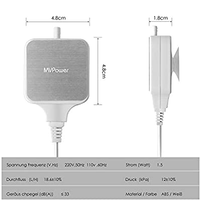MVPower Aquarium Luftpumpe leise Sauerstoffpumpe Geräusch niedriger als 33db 1.5W 300mL/M Ausströmer Oxygen Pumpe Belüfter für Aquarien