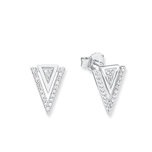 s.Oliver Damen-Ohrstecker Dreiecke 14 mm 925 Silber rhodiniert Zirkonia weiß - 566803