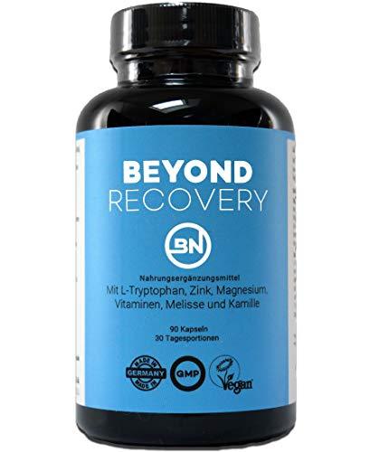 BEYOND RECOVERY - natürliches Schlafmittel, Schlaftabletten Ersatz & Melatonin-Quelle mit L-Tryptophan, Melisse, Magnesium, B6 + Ashwagandha gegen Stress - rezeptfrei, extra stark, 90 vegane Kapseln -
