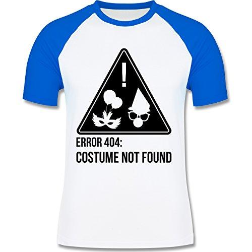 Shirtracer Karneval & Fasching - Error 404: Costume Not Found - Herren Baseball Shirt Weiß/Royalblau