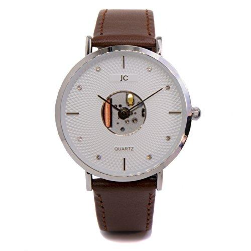 Jean Constantine Quarz Armbanduhr, Braunes Lederband, Federleicht, Modisch, Klassische Zeitlose Uhr, Farbe: Silber-Braun, 38mm