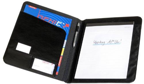 Genie 11458 Conference Classic Elegante A4 Schreibmappe (Extradünn aus strapazierfähigem Kunsstoff, Lederoptik Inkl. A4 - Schreibblock, Stiftehalter, Einschubfach, Visitenkartenfach) schwarz