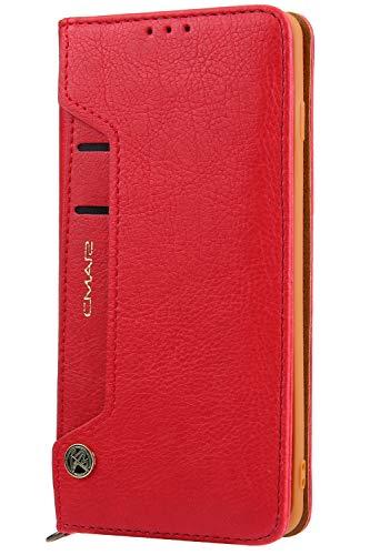 Handytasche Compatible with Samsung Galaxy S10,Kunst Leder Case Handyhülle Flip Case mit Kredit Karten Hülle Geldklammer Unsichtbar Magnet und Stand Funktion Schutzhülle,Rot