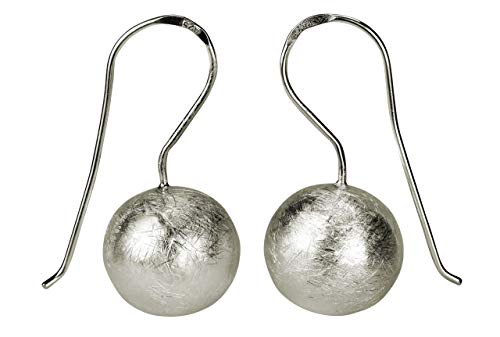 SILBERMOOS Damen Ohrhänger große Kugel rund hängend matt 925 Sterling Silber Ohrschmuck Ohrringe