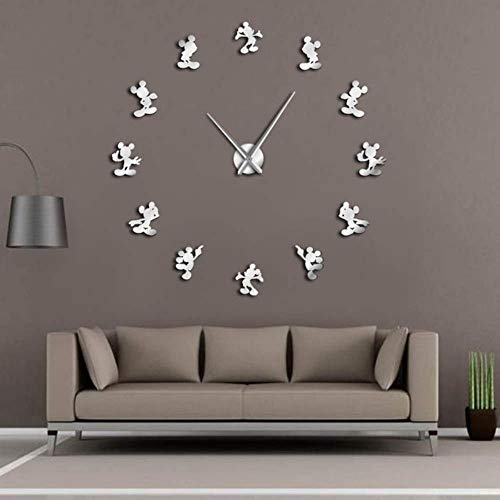 n Creative Minnie Mickey Mouse Kitchen DIY Wall Hanging Decor Clock 3D Watch Stickers Housewarming Gift Kids Room,Silver,37inch ()