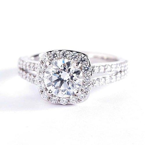 Verlobungsring 18 K Weißgold 1,40 Karat Diamant SI2 H Rundschliff mit geteiltem Schaft GIA-zertifiziert