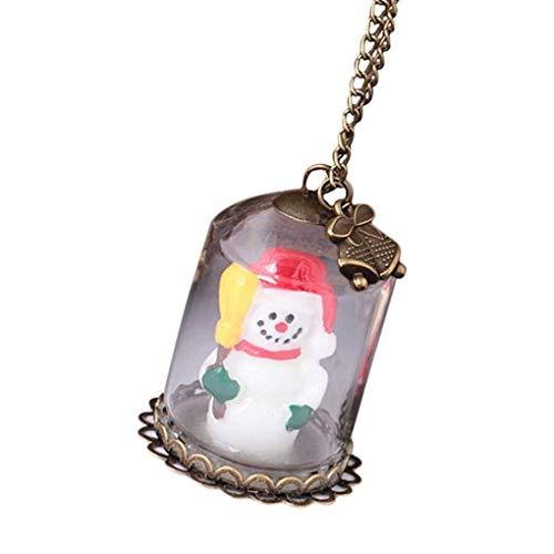 LSY Exquisite frauen weihnachtsmann schneemann haus anhänger halskette leuchtende glasflasche weihnachten lange kette zubehör