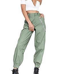 Mujer Pantalones De Tiempo Libre Fashion Cintura Alta Pantalon Deporte  Elegantes Único Anchas Streetwear Niñas Ropa Hip Hop Pantalones De… 9f878751c58