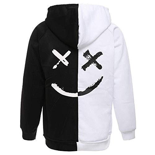 XIAOYAO Herren Zipper Kapuzenpullover Sweatjacke Pullover Hoodie Sweatshirt (M, Schwarz und Weiß)