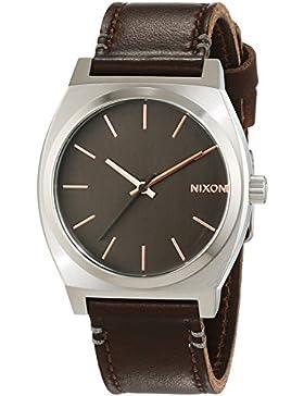 Nixon Damen-Armbanduhr Time Teller Gray / Rose Gold / Brown Analog Quarz Leder A0452066-00