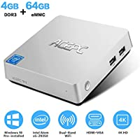 ACEPC T11 Windows 10 Pro Mini PC, 4GB Ram 64GB eMMC Intel Atom x5-Z8350 Fanless Mini Computer with HDMI and VGA Ports, Gigabit Ethernet, Dual Band WiFi, BT 4.2, 4K HD Graphics, VESA Mount