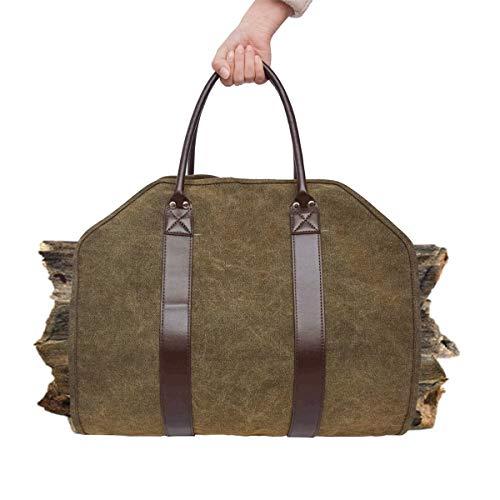 Huntforgold Kaminholztasche Extra Groß Tragetasche Wasserdicht Lanlebig Canvas Brennholz Tasche mit Griffen für Camping (Canvas Tasche Camping)