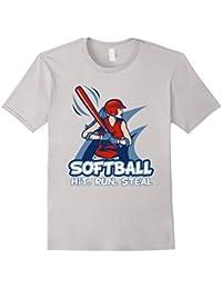 Softball Hit. Run. Steal Ladies T-Shirt Women Sport Gifts