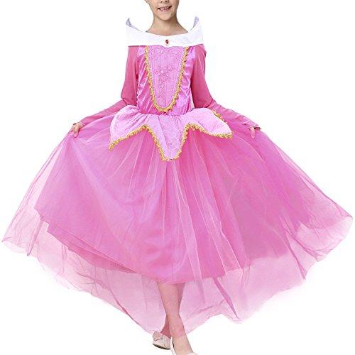 Zeeton Mädchen Kostüm Aurora Prinzessin Kleid Party Kinder Spitze Cosplay Paillette Kleidung Festival Hallween Karnerval 130