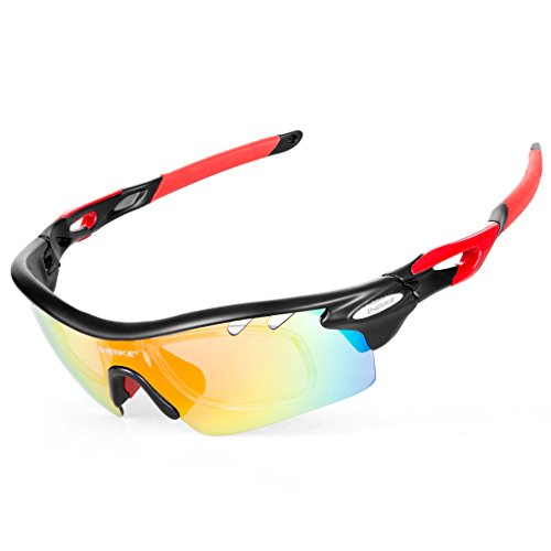 Inbike Gafas de Ciclismo de Sol con 5 Lentes de Bicicleta UV400 TR-90 (Negro)