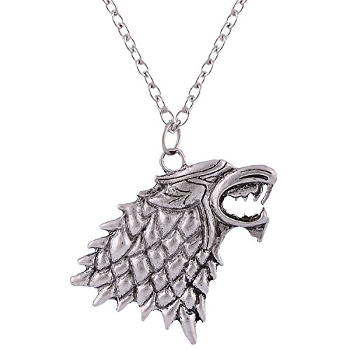 Bling N Beads Game of Thrones House Stark Sigil Necklace vintage antique silver pendant for men and women (style2)