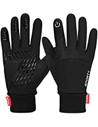 Yobenki Winter Warm Gloves, Anti Slip Touch Screen Gloves Waterproof Windproof Thermal Gloves Cold Weather Cycling Gloves for Men Women
