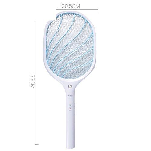 Elektrischen Moskito Swatter Schläger Für Indoor Und Outdoor Wespe Elektrische Fliegenklatsche Mückenklatsche Mückenschutz & Insekt Bug Killer Aufladbare Led-lampe Lithium Batterie Usb-ladekabel -B 21x55cm(8x22inch) (Bug Frieden)